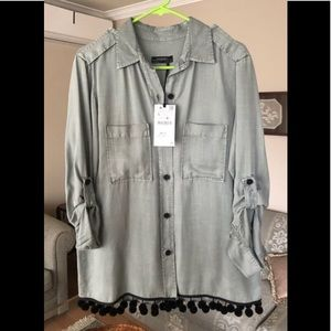 Cute button down Zara shirt with pompons